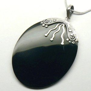 "LARGE 2.5"" Sterling SILVER Black MOP Necklace"
